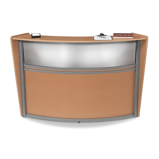 OFM Marque Series Single Unit Plexi Reception Station, Maple with Silver Frame (55310-MPL)