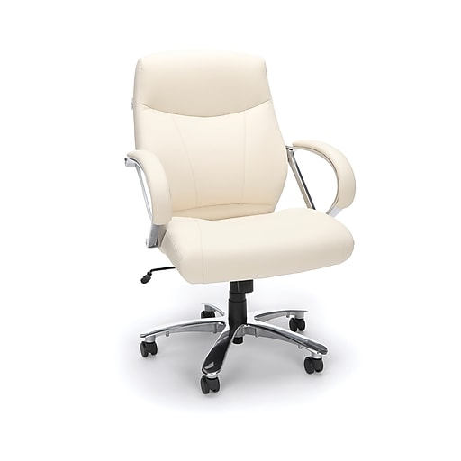 OFM Avenger Series Leather Mid-Back Big and Tall Executive Chair, Cream (811-LX-CRM)