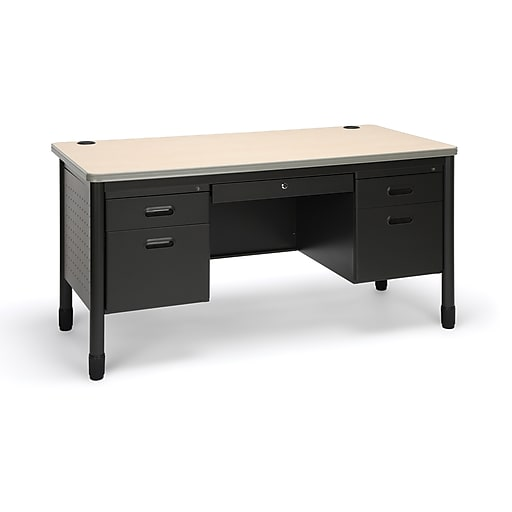 "OFM Mesa 59""W Double Pedestal Desk, Maple/Gray (66360-MPL)"