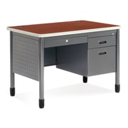 OFM Core Collection Mesa Series 3-Drawer Single Pedestal Steel Sales Desk with Laminate Top, in Cherry (66242-CHY)