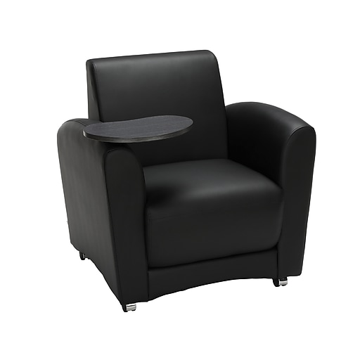 OFM InterPlay Series Fabric Single Seat Club Chair with Tungsten Tablet, Black (821-PU606-TNGST)