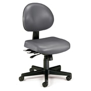 OFM 24 Hour Ergonomic Armless Task Chair, Anti-Microbial/Anti-Bacterial Vinyl, Mid Back, Charcoal (241-VAM-604)