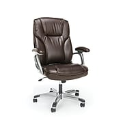 Essentials by OFM High-Back Bonded Leather Executive Chair with Fixed Arms, Brown (ESS-6030-BRN)