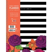 Tf Publishing 2018 Academic Year Striped Floral Large Weekly Monthly Planner (18-9705A)