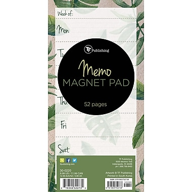 Tf Publishing Nondated Leaves Weekly Lined Memo Magnet Pad (30-0220)