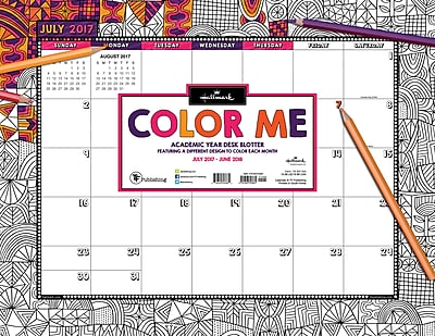 Hallmark 2018 Academic Year Color Me By Hallmark Desk Blotter (18-8018A)