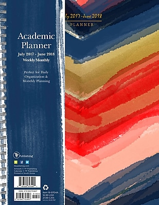 Tf Publishing 2018 Academic Year Painted Colors Large Weekly Monthly Planner (18-9704A)