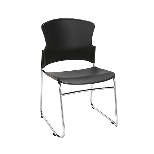 OFM Core Collection Multi-Use Plastic Stack Chair, Pack of 4, in Black (310-P-4PK-A02)