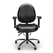 OFM 24 Hour Big and Tall Ergonomic Computer Swivel Task Chair with Arms, Vinyl, Black, (247-VAM-606)