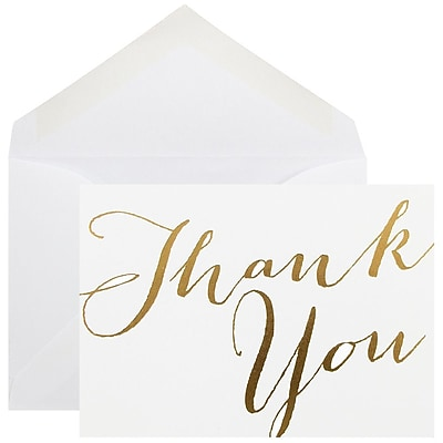 JAM Paper® Thank You Cards Set, White with Gold Script, 10/pack (D41113TYGLMB)