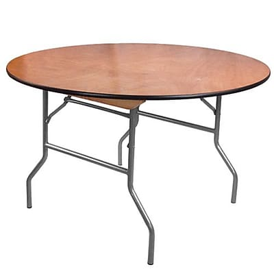 Advantage 4 ft. Round Wooden Folding Banquet Table (FTPW-48R-05)