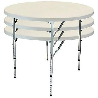 Advantage 4 ft. Round Adjustable Plastic Folding Table (FTD48R-ADJ-05)