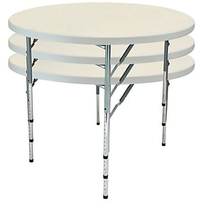 Advantage 4 ft. Round Adjustable Plastic Folding Table (FTD48R-ADJ-05)