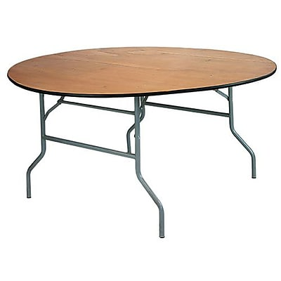 Advantage 6 ft. Round Wooden Folding Banquet Table (FTPW-72R-05)