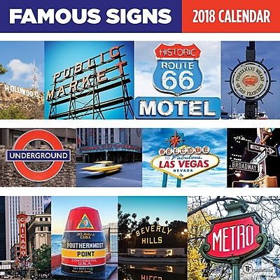 Tf Publishing 2018 Famous Signs Wall Calendar (18-1034)