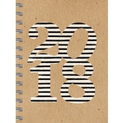Tf Publishing 2018 Striped Kraft Medium Weekly Monthly Planner (18-9215)
