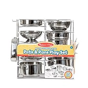 Melissa & Doug Deluxe Stainless Steel Pots & Pans Play Set (30340)