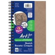 """Art1st® Create Your Own Cover Sketch Diary, 6"""" x 9"""", Natural Kraft Cover, 50 Sheets per book, bundle of 6 diaries (PAC4776)"""