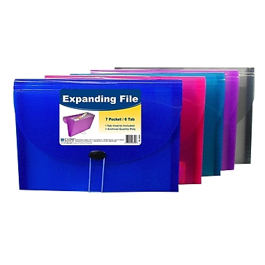 C-Line® 8-Pocket Spiral-Bound Poly Portfolio, Letter Size, Assorted Colors, bundle of 6 (CLI33080)