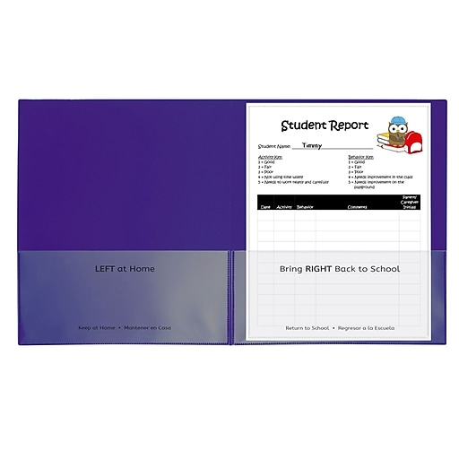 C-Line Classroom Connector School-to-Home Heavyweight File Folder, Letter Size, Purple, 25/Box (CLI32009)
