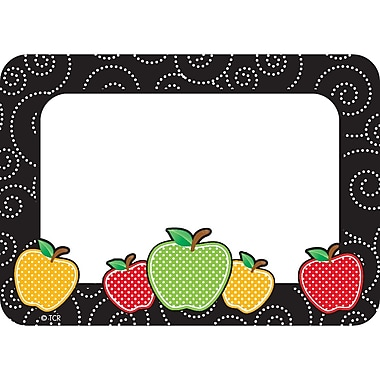 Teacher Created Resources Dotty Apples Name Tags/Labels, 36 per pack, bundle of 3 packs, 3 1/2