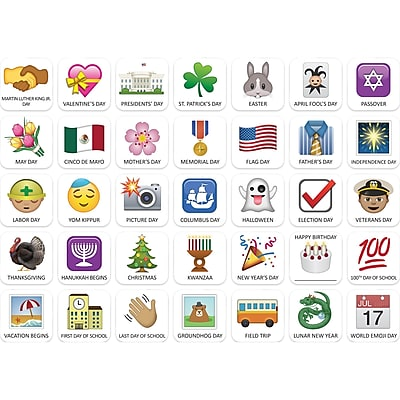 Creative Teaching Press Emoji Fun Holidays and Special Events Calendar Cover-Ups, 35/Pack (CTP6059)