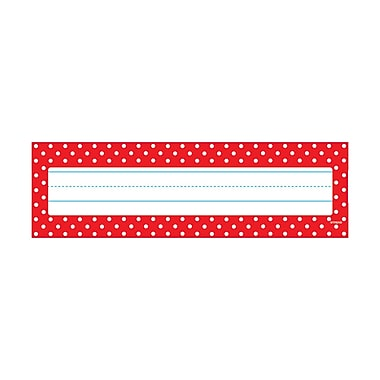 Trend Polka Dots Red Desk Toppers® Name Plates, 36 per pack, bundle of 12 packs, 9 1/2