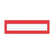 """Trend Polka Dots Red Desk Toppers® Name Plates, 36 per pack, bundle of 12 packs, 9 1/2"""" x 2 7/8"""" (T-69251)"""