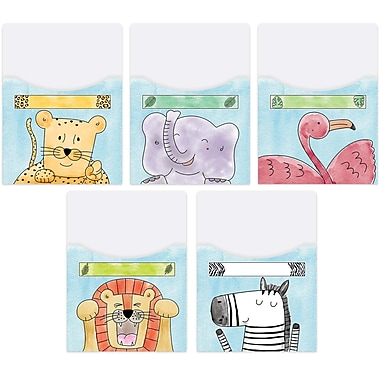 Creative Teaching Press Safari Friends Library Pockets-Extra-Large, 10 pockets per pack, bundle of 2 packs (CTP7075)