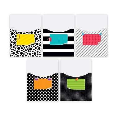 Creative Teaching Press Bold & Bright Library Pockets-Extra-Large, 10 pockets per pack, bundle of 2 packs (CTP7076)