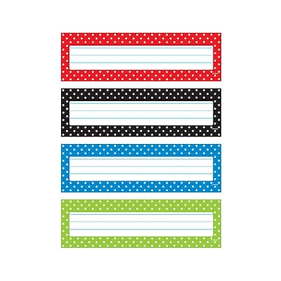 Trend Polka Dots Desk Toppers® Name Plates Var. Pk., 32 per pack, bundle of 6 packs, 9 1/2