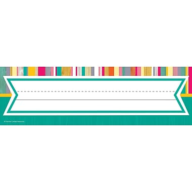 Teacher Created Resources Tropical Punch Name Plates, 36 per pack, bundle of 3 packs, 11.5 x 3.5 (TCR2674)