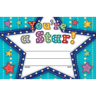 Teacher Created Resources Marquee You're a Star Awards, 25 per pack, bundle 6 packs, 150 total (TCR5485)
