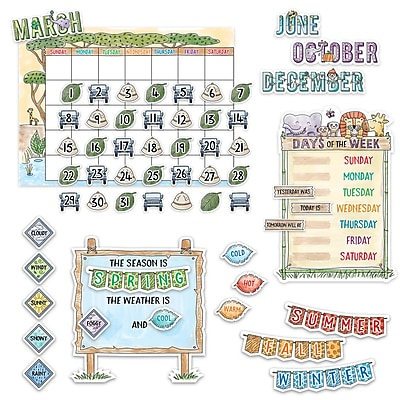 Creative Teaching Press Safari Friends Calendar Set Bulletin Board, 67/Set (CTP3999)