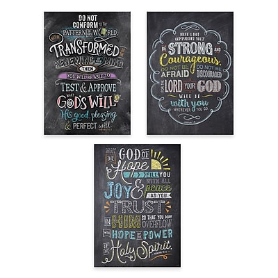 Creative Teaching Press Bible Verses in Chalk Rejoice Inspire U Poster 3-Pack (CTP2274)