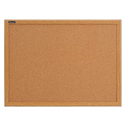 Staples Durable Cork Bulletin Board, Oak Finish Frame, 2' x 3' (85223B)