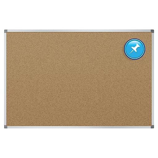 Quartet Basic Cork Bulletin Board, Aluminum Frame, 3'H x 4'W (85347)