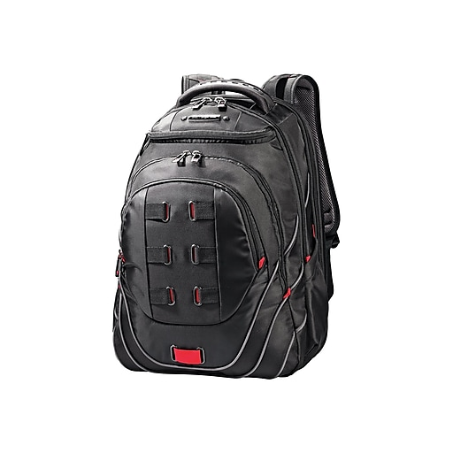 Samsonite Tectonic Perfect Fit Laptop Backpack, Solid, Black/Red (51531-1073)