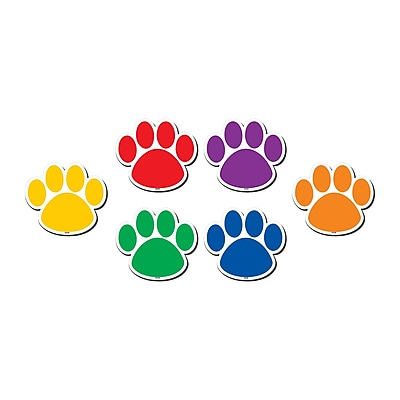 Teacher Created Resource Colorful Paw Prints Magnetic Accents, 6