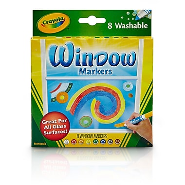 Crayola 8CT Washable Window Markers, Assorted Colors. Sold as a set of 4, each pack has 8 markers for a total of 32 (BIN588165)