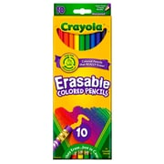 Crayola Erasable Colored Pencils 10 Color Set, Assorted. Sold as a set of 6, each pack has 10 pencil colors for a total of 60
