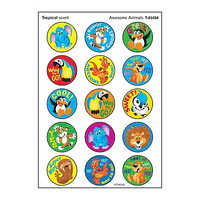 Trend Awesome Animals/Tropical Stinky Stickers®, 60ct per pk, bundle of 6 packs (T-83438)