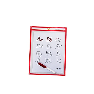 C-Line® Reusable Dry Erase Pocket, Neon Red, 9