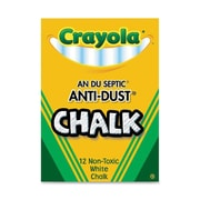 Crayola Chalk Anti-Dust White, 12 CT (BIN14021). Sold as a set of 24 packs. Each pack has 12 pieces of chalk for a total of 288.