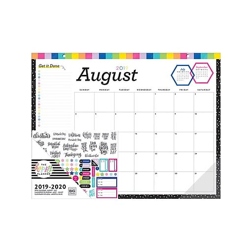 """August 2019 - July 2020 17"""" x 22"""" The Happy Planner Desk Calendar, Get It Done (PDC-02)"""