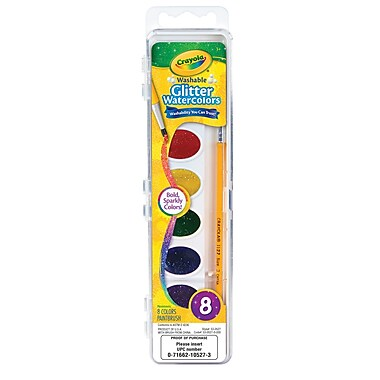 Crayola Wash Watercolor Glitter 8pk, Assorted Colors, BIN530527, 9.25