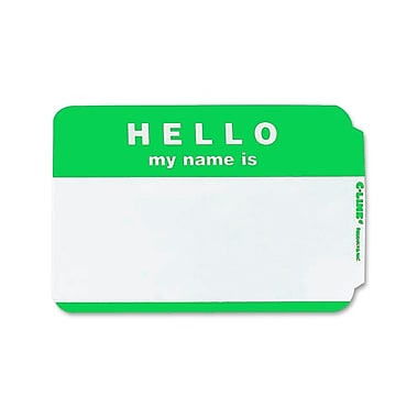 C Line Self Adhesive Green Name Badges Hello Pack of 100, 4.9