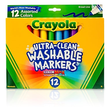 Crayola Washable Markers 12CT Asst Colors Conical Tip. Sold as a set of 3, each pack has 12 markers for a total of 36.