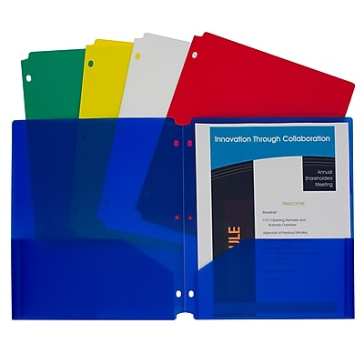 C-Line® Two-Pocket Poly Portfolios with Three-Hole Punch, Letter Size, Assorted colors, Pack of 10 (CLI32930)
