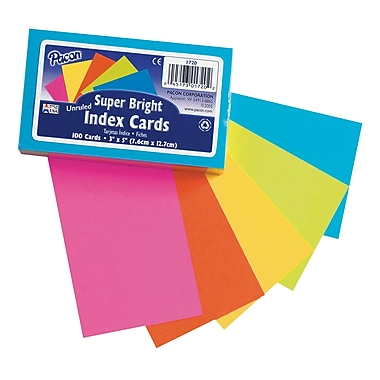 Super Bright Index Cards 3x5 Unruled, Assorted Colors, 100ct,Sold as a set of 6 packs, each pack has 100 cards(PAC1720)